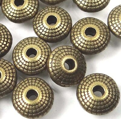 25 Antique Bronze Pewter Disc Spacer Rondelle 8mm ~ Lead-Free ~