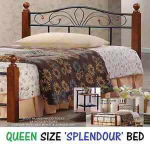 Queen Size Bed Frame - BRAND NEW Timber and Iron Style Bed New Farm Brisbane North East Preview