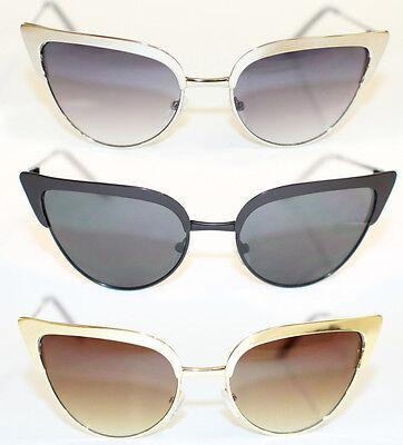 Cat Eye Sonnenbrille voll metall gold silber Rockabilly 50's Wimpern Sil RAR 479
