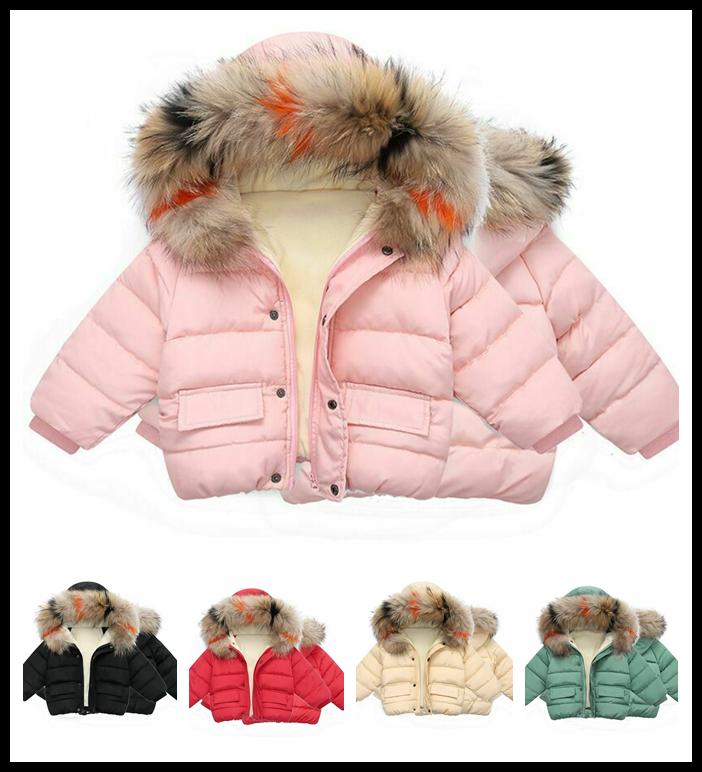 Toddler Kids Girl Winter Padded Faux Fur Hooded Coat Warm Jacket Outerwear