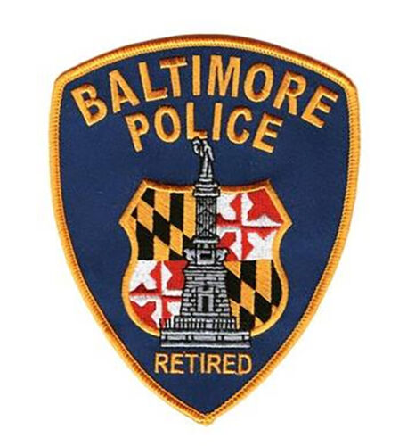 BALTIMORE POLICE RETIRED FULL SIZE SHOULDER PATCH, NEW UNUSED