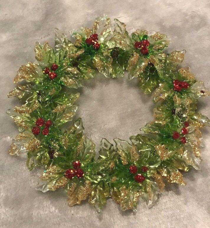 "5"" Holly Wreath Ornament Glitter Plastic"