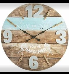 Pier 1 Oversized Live Life Nautical Wall Clock Large Wood Teal Blue Ocean One