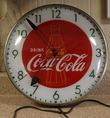 "Vintage 15"" Round COCA COLA With Bottle Pam Clock"