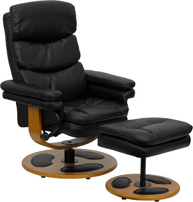 Contemporary Multi-Position Recliner and Ottoman with Wood B
