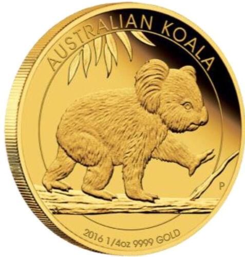 Australia 2016 Proof Koala $25 1/4oz .9999 Pure Gold coin 1000 mintage with OGP