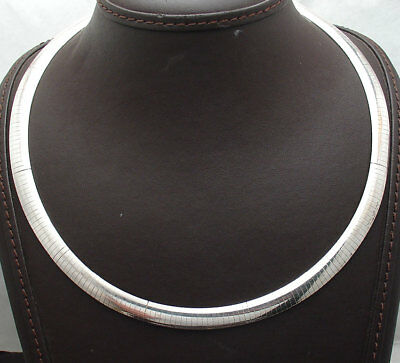 8mm Domed Omega Chain Necklace with Lobster Clasp Real Sterling Silver - 8mm Omega Necklace Chain