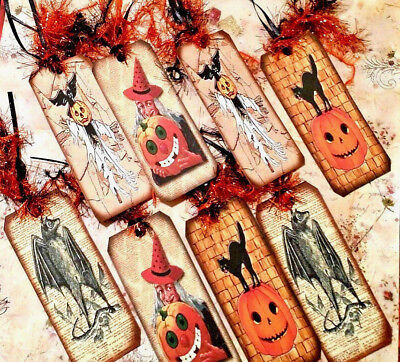 8 Halloween Spooks~Gift Hang Tags~Scrapbooking~Card Craft Making Embellishments - Make Halloween Gift Tags