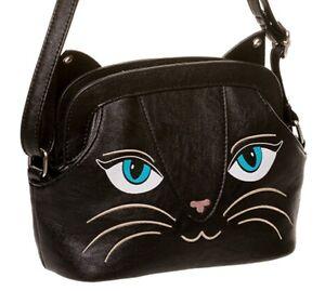 Banned Apparel Black Cat Face Cute Kitty Animal Kids Handbag Shoulder Bag SMALL