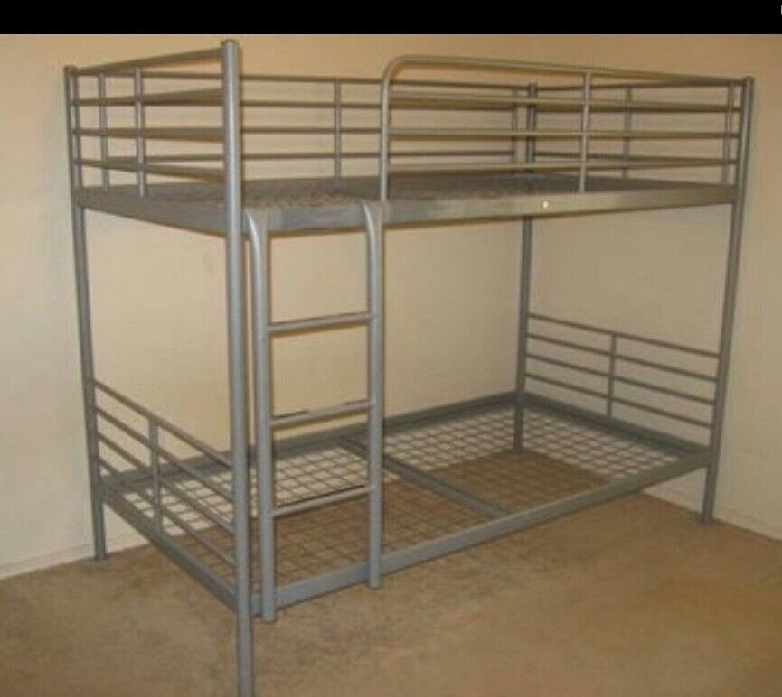 Ikea grey silver metal bunk bed excellent condition single for Gumtree bunk beds