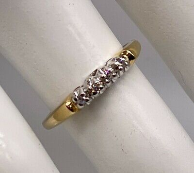 1940s Jewelry Styles and History Antique 1940s RETRO Diamond 14k Yellow White Gold Wedding Band Ring $165.00 AT vintagedancer.com