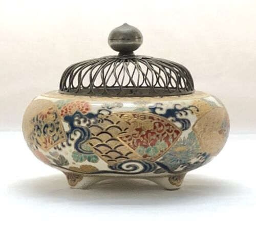 Antique Japanese Meiji Period Exceptionally Painted Earthenware Censer