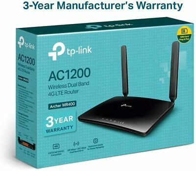 TP-Link Archer MR400 AC1200 Dual Band 4G Mobile Wi-Fi Router, SIM Slot...