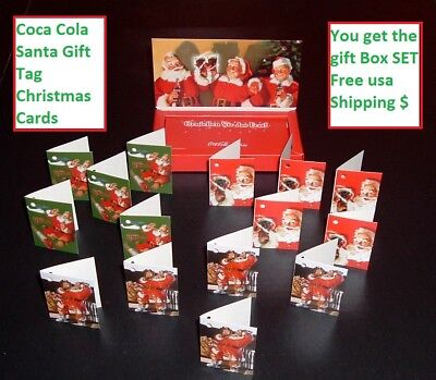 Coca Cola Santa Claus Coke Christmas Gift Tag Cards Set Coke Advertising MIB