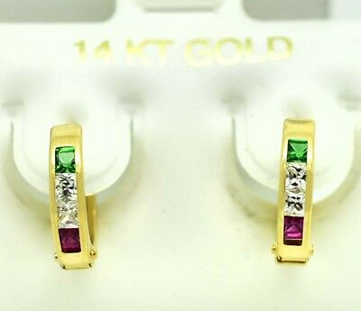 EMERALD & RUBY HUGGIES EARRINGS 14k  Yellow Gold  *FREE SHIPPING Emerald Huggies Earrings