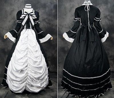 V-07 Gr. S schwarz weiß Victorian Gothic Lolita Ball-Kleid dress costume Kostüm