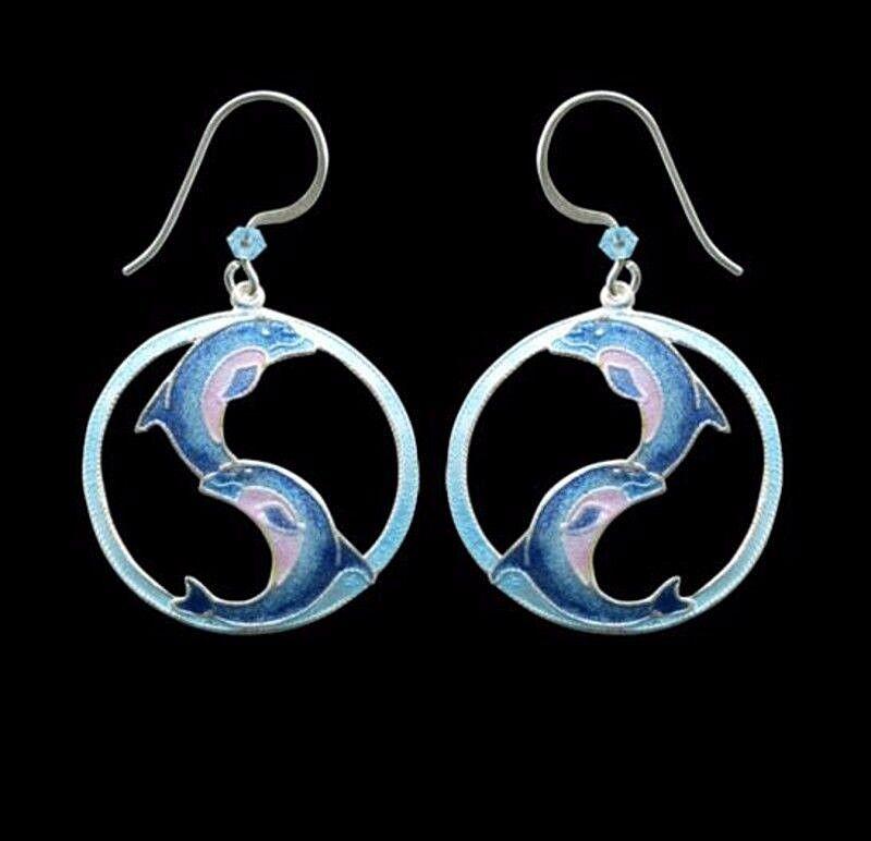 Yin Yang Dolphin Cloisonne Earrings By Bamboo Jewelry Ena...
