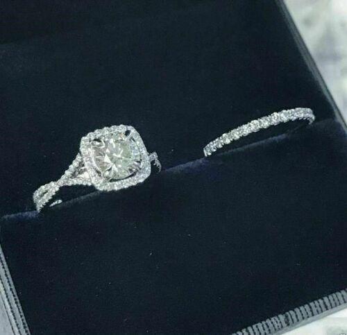 2.80Ct White Round Cut Diamond 14k White Gold Finish Engagement Wedding Ring Set