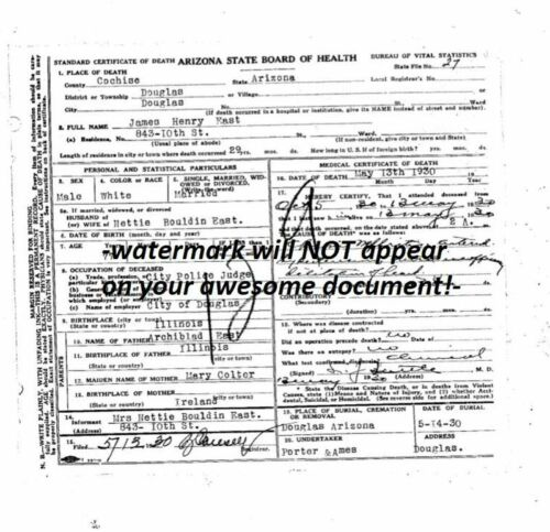 Sheriff Jim East DEATH CERTIFICATE He Caught Billy the Kid with Pat Garrett