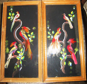Real Feather Tropical Bird Vintage Picture x2 Oriental Chinese