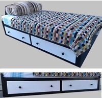 Complete SINGLE Bed with 2 Drawers + Single Mattress, FIR Wood