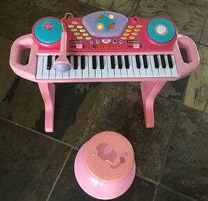 Kid / child electronic keyboard with microphone and stool
