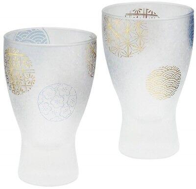 (Japanese glass Sake cup set of 2 premium marumon series free shipping from japan)