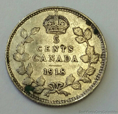 1918 Canada 5 Five Cent .925 Sterling Silver Coin