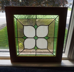 4U2C  FRAMED LEAD GLASS WINDOW HANGING