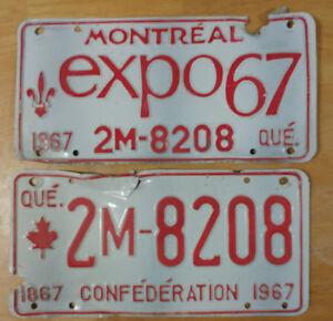 1967 plaque immatriculation QUEBEC (Pair)