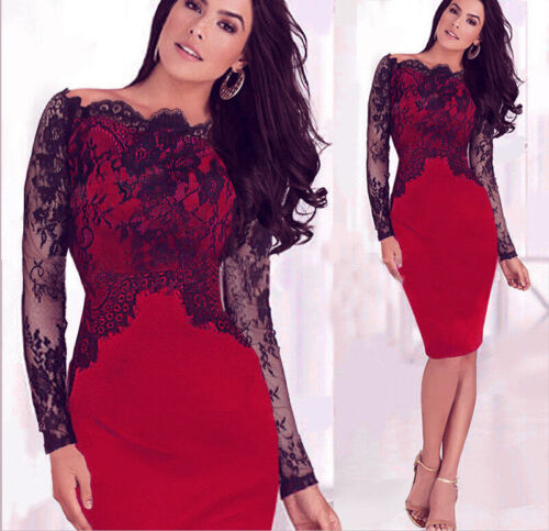 Dress - US STOCK Women Sexy Lace Cocktail Evening Party Business Bodycon Pencil Dress
