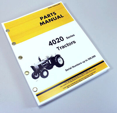 Parts Manual For John Deere 4020 4000 Tractor Catalog Book Sn To 200999