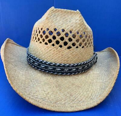 Western Decor Cowboy HAT BAND 7 Strand Black/White Horsehair Single Tassel