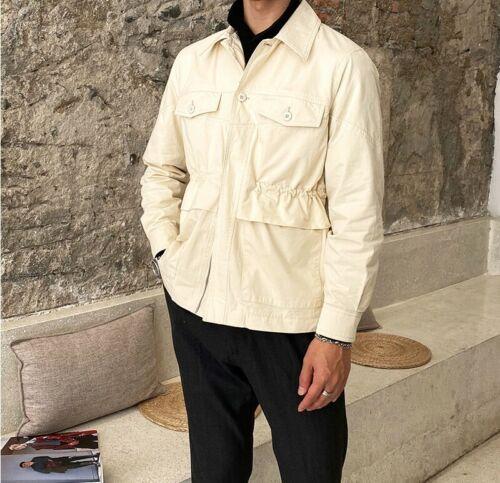 Men/'s Vintage Style Jacket Outwear Plain Long sleeve Tooling Loose Fit Leisure L