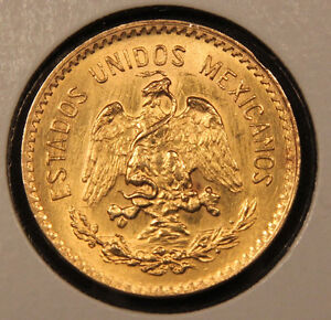 1959 Mexico Gold 10 Pesos. Uncirculated solid gold coin.
