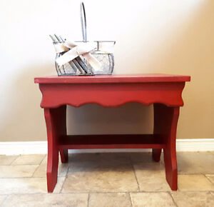 Small Deep Red Distressed Side Table