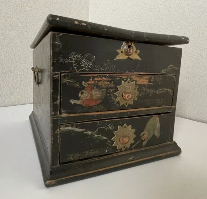 Chinese Japanese Vanity Wood Box Antique Vintage metal pattern Era