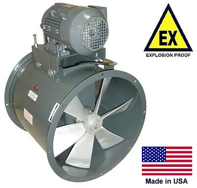 Tube Axial Duct Fan - Explosion Proof - 24 - 1 Hp - 115230v - 7425 Cfm - Wet