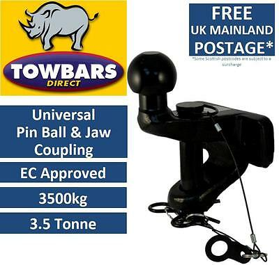 Universal Pin Ball Jaw Coupling 50mm Towball 3500kg 3.5Tonne Rated, EC Approved
