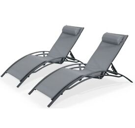 2 Aluminium and textilene sun loungers, 6 positions, white / grey