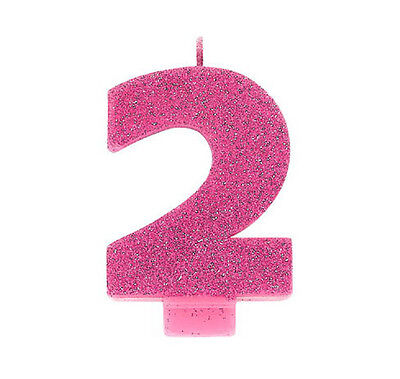Glitter Bright Pink Number 2 Cake Candle 2nd Birthday Party Supplies Decoration - Number 2 Candle