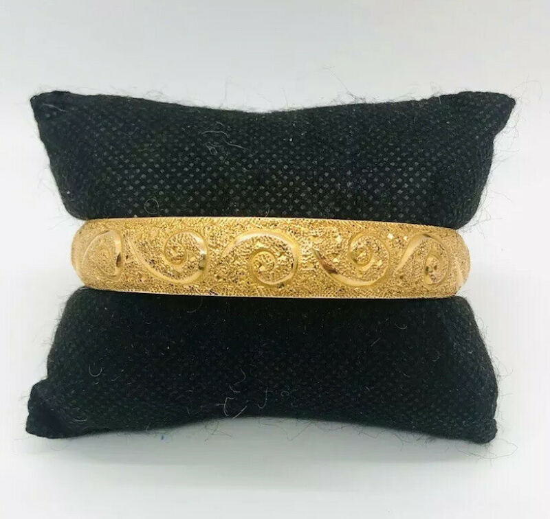 Exquisite 14k Gold Filled Bangle Bracelet Florentine Etched Antique Jewelry A+