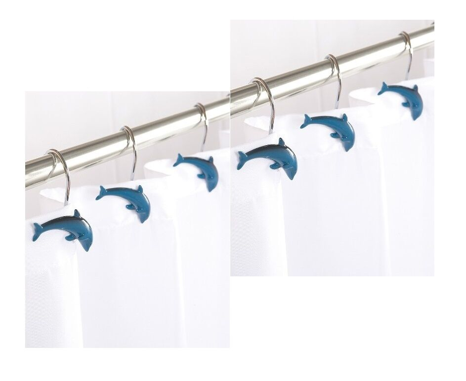 New Dolphin Shower Curtain Hooks Dolphin Fish Set OF 12