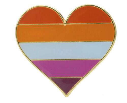 """Lesbian Heart Lapel Pin 1"""" x 1"""" Gay Lesbian Pride LGBTQIA Hat Tie Tack"""