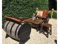 Oak barrel garden furniture for garden patio bar pub