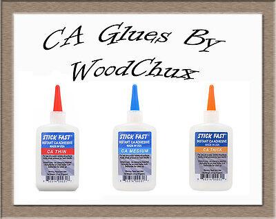 Stick Fast 1 2.5 4.5 8 oz CA Glue Cyanoacrylate Adhesive Thin Medium Thick