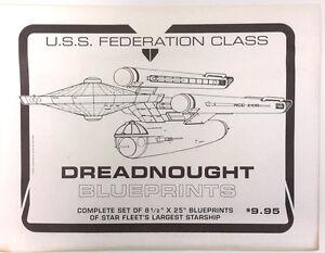 Star Trek USS Federation Class Dreadnought Blueprint Set- 10 Fold Out Sheets