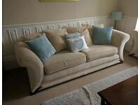 Cream DFS 3 and 2 Seater Sofas Inc Footstool.