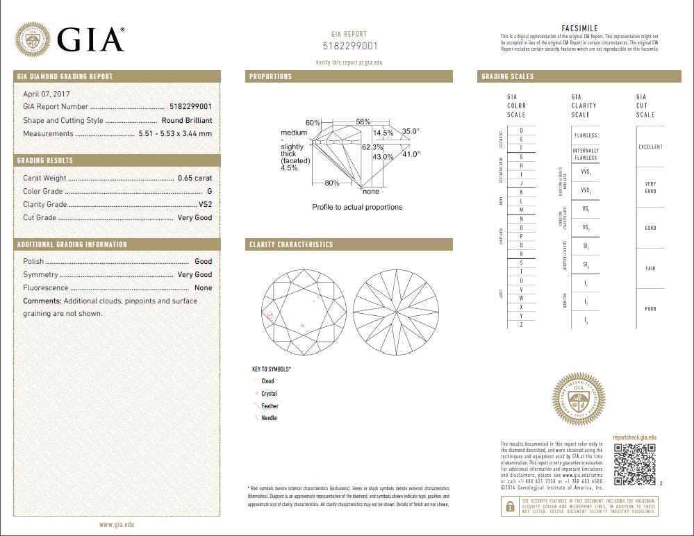 0.65 Carat Loose G / VS2 Round Brilliant Cut Diamond GIA Certified