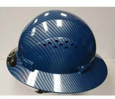 Full Brim Blue Hard Hat Construction Safety Works Helmet Protect